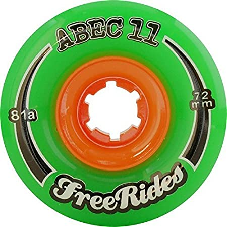 ABEC 11 Freeride Centerset Green Skateboard Wheels - 72mm 81a (Set of 4)