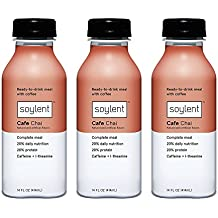 Soylent Cafe Chai, Ready To Drink Breakfast in a Bottle, Nutritionally Complete Meal Replacement Beverage, 14 oz, 3 Bottles