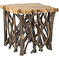 East at Main Lanoka Teakwood Square Accent Table, Brown, (22x22x22)