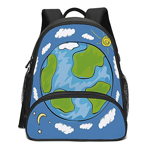 Earth Durable Kids Backpack,Childs Drawing of the Planet Earth Surrounded with Clouds Day and Night Cycle for School Travel,10