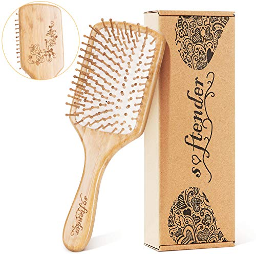 [Upgraded]Natural Wooden Bamboo Hair Brush For Women,Men Hair Eco-Friendly Bamboo Bristles Pin Hairbrush Scalp Massage Improve Thin,Straight,Long,Curly,Short Hair Health,Paddle Detangling Brush ()