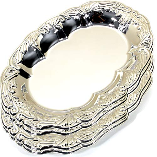 (Maro Megastore (Pack of 4) 12.6-Inch x 8.7-Inch Vintage Oval Chrome Plated Serving Tray Edge Floral Engraved Decorative Wedding Birthday Dessert Cake Snack Wine Candle Platter Plate 228 S Ts-135)