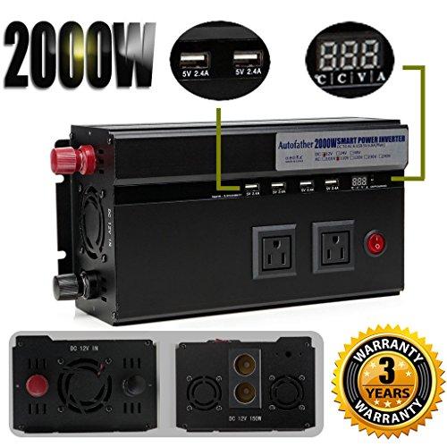Digital Display Car Power Inverter 2000W 12V DC To 110V AC Modified Sine Wave Converter 2 AC Outlets & 4 USB Charging Ports & 2 Cigarette Socket Output