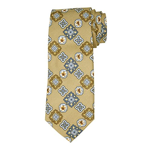 Tommy Bahama Mens Tropic Medallion Silk Floral Neck Tie Taupe O/S