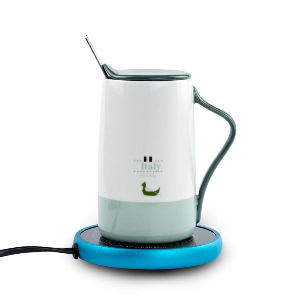Electric Coffee Mug Warmer and 15 OZ Fine Bone China Coffee Mug for Office Home
