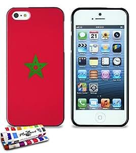 Carcasa Flexible Ultra-Slim APPLE IPHONE 5 de exclusivo motivo [Bandera Marruecos] [Negra] de MUZZANO  + ESTILETE y PAÑO MUZZANO REGALADOS - La Protección Antigolpes ULTIMA, ELEGANTE Y DURADERA para su APPLE IPHONE 5
