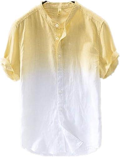 Camisa De Manga Corta Casual De AlgodóN Y Lino con Estampado Degradado A Juego De Color De Verano para Hombres.: Amazon.es: Ropa y accesorios