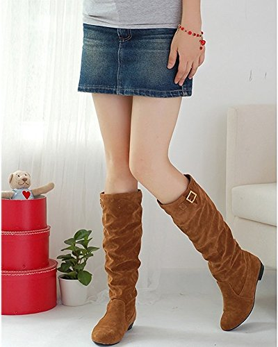 Maybest Women Autumn Winter Suede Flat Shoes Boots Stylish Slouchy Scrunch Knee High Flat Boots Yellow iYxmSV