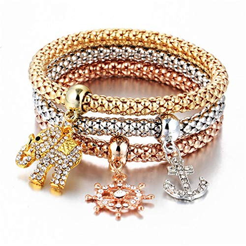 Guy-Sex Nicely Color Crystal Skull Bracelet & Bangle 3 PCS/Set Charm Luxury Love Anchors Heart Women Bracelet ()