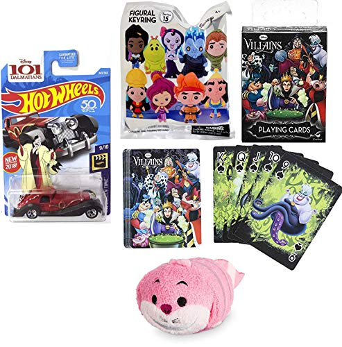 Cat Disney Tsum Mini Plush Pink Chesire Figure Evil Ones Villainous Character Bundled Blind Bag Keychain Figure & Car Wicked Cruella De Vil 101 Dalmations & Villain Playing Card Pack Deck 4 Items -