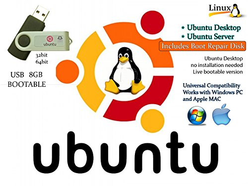 Linux Ubuntu Bionic Beaver 18.04 Desktop / Server 64bit + 17.04 Desktop and Server 32bit + Boot Repair Disk 64bit - Linux / Windows Repair Utility Multiboot Install Bootable Boot USB Flash Thumb Drive by Tech Store On