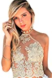 JeVenis Women's Halter Neck Tank Crop Top Sleeveless Lace Vest Embroidered Bustier Top (US L, Gold - White)