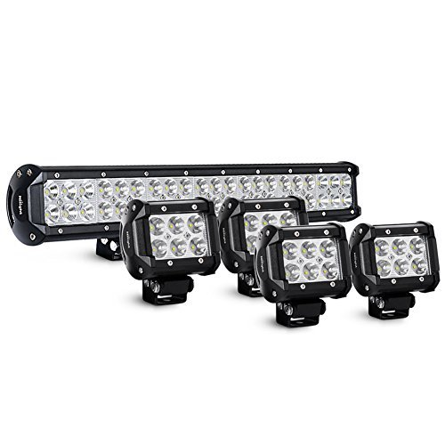 Nilight 20Inch 126W Spot Flood Combo Led Light Bar 4PCS 4Inch 18W Spot LED Pods Fog Lights for Jeep Wrangler Boat Truck Tractor Trailer Off-Road,2 years Warranty ()