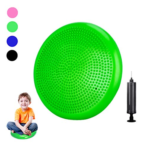 Freesty Wobble Cushion Wiggle Seat with Pump, Air Stability Balance Disc Core Trainer for Home & Gym, Office Desk Chair Cushion for Flexible Classroom Seat (Green, 34cm) (Cushion Balance Wobble)