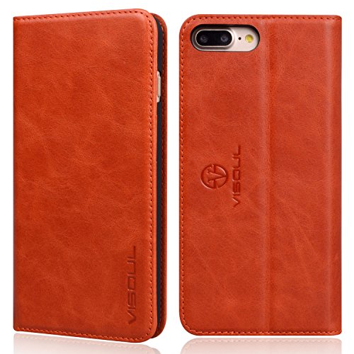 VISOUL iPhone 7 Plus Wallet Case, Genuine Leather Luxury Case, Slim Folio Book Design with Stand and 3 Card Slots, Magnetic Closure Protective Case for Apple iPhone 8 + / 7 + (Orange) (Tiffany Co Iphone Case)