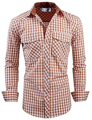 Tom's Ware Mens Classic Slim Fit Buffalo Plaid Longsleeve Shirt