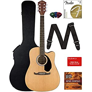 c64b590b29 Fender FA-125CE Dreadnought Cutaway Acoustic-Electric Guitar – Natural  Bundle with Hard Case, Strap, Strings, Picks, Fender Play Online Lessons,  ...