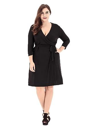 Grande Robe Femmes Zhuikun En Col V Portefeuille Robes Taille HqIRR7Cw