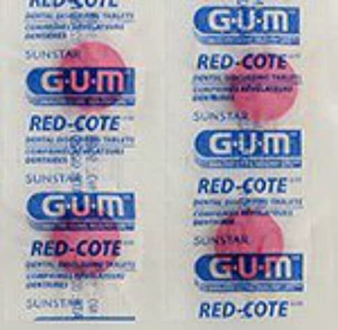 GUM Red-Cote Disclosing Plaque Tablets- Cherry Flavor (40 tablets) (Agent Cool Blue)