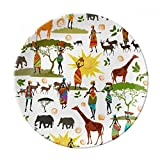 African Savanna Black Women Wildlife Animals Dessert Plate Decorative Porcelain 8 inch Dinner Home
