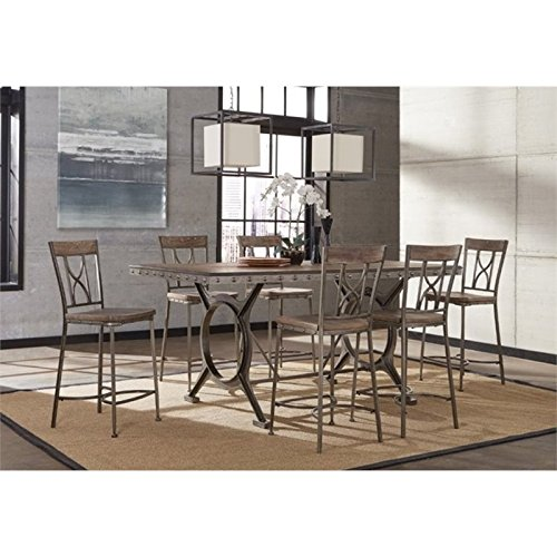 Bowery Hill 7 Piece Counter Height Dining Set in Brown and Gray