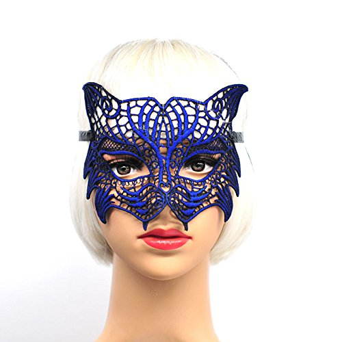 ArMordy(TM) Mysterious Angel Creative New Colors Halloween Masquerade Sexy Lady Lace Mask Hollow Out Catwoman Happy Gifts Tiger[ Blue ] -