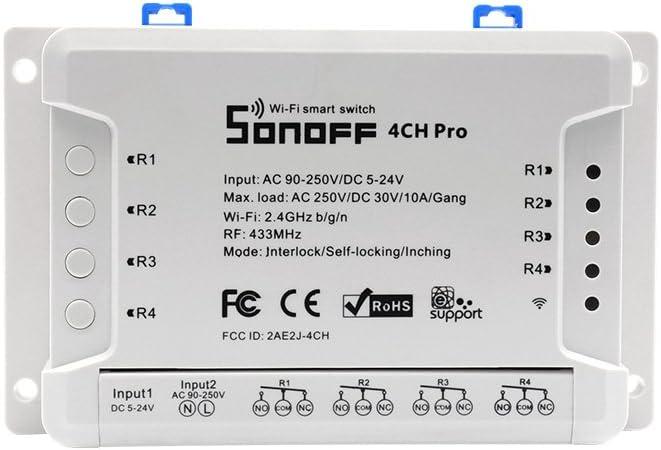 4CH Pro R2-Interruptor inteligente 4 Gang de enclavamiento para generador/Inching/Self-locking Interruptor inalámbrico WiFi & RF 90~250V AC/5~24V DC, (1-16s de retraso en modo inching)