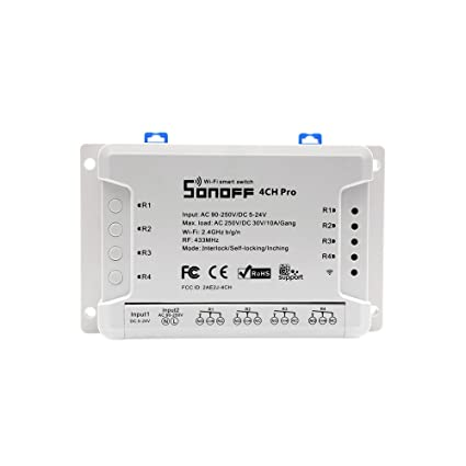 Sonoff 4CH Pro R2 WiFi Smart Switch 4 Gang Light Switch  Inching/Self-Locking/Interlock 433MHz RF Remote Control Switch,Works with  Amazon Alexa/Google