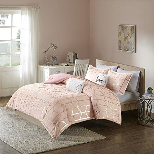Intelligent Design Raina Comforter Set Full/Queen Size – Blush Gold, Geometric – 5 Piece Bed Sets – Ultra Soft Microfiber Teen Bedding For Girls Bedroom