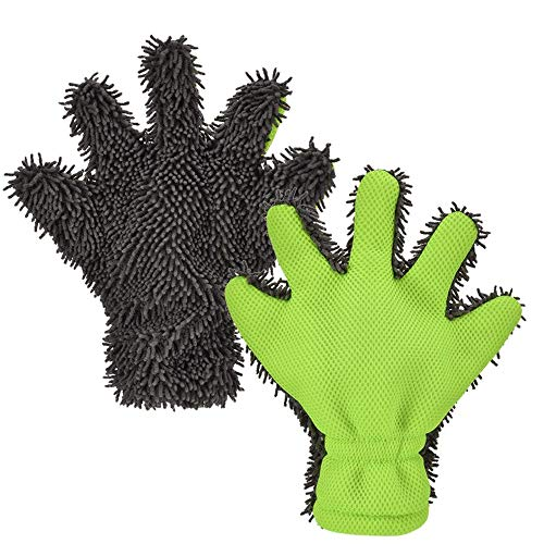 BOKA 2 Pack 5-Finger Car Wash Mitt, Microfiber Interior & Exterior Cleaning Glove for Car and Motorbike Washing Drying Mitt Kitchen Clean Window Cleaning Gloves Color in Grey/Green
