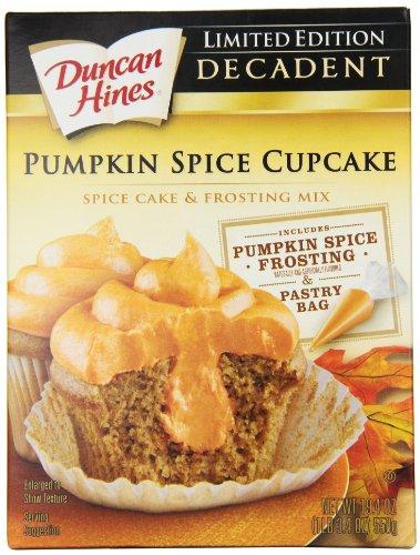 Duncan Hines Decadent Cupcake Mix, Pumpkin Spice, 19.4 Ounce (Pack of 8) (Pumpkin Cupcakes Spice)
