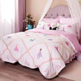 Brandream Pink Ballet Kids Comforter Set Cute Girls Bed Quilt Set Full Queen Size