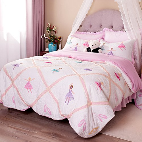 Brandream Pink Ballet Kids Comforter Set Cute Girls Bed Quilt Set Twin Queen Size (Beds Cute For Quilts)