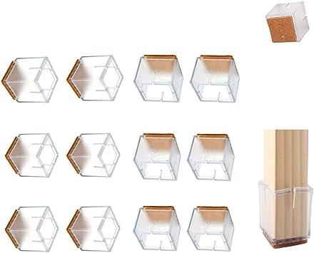 24 unidades patas cuadradas JIAHU Protectores de suelo para patas de silla para muebles tapas de silicona