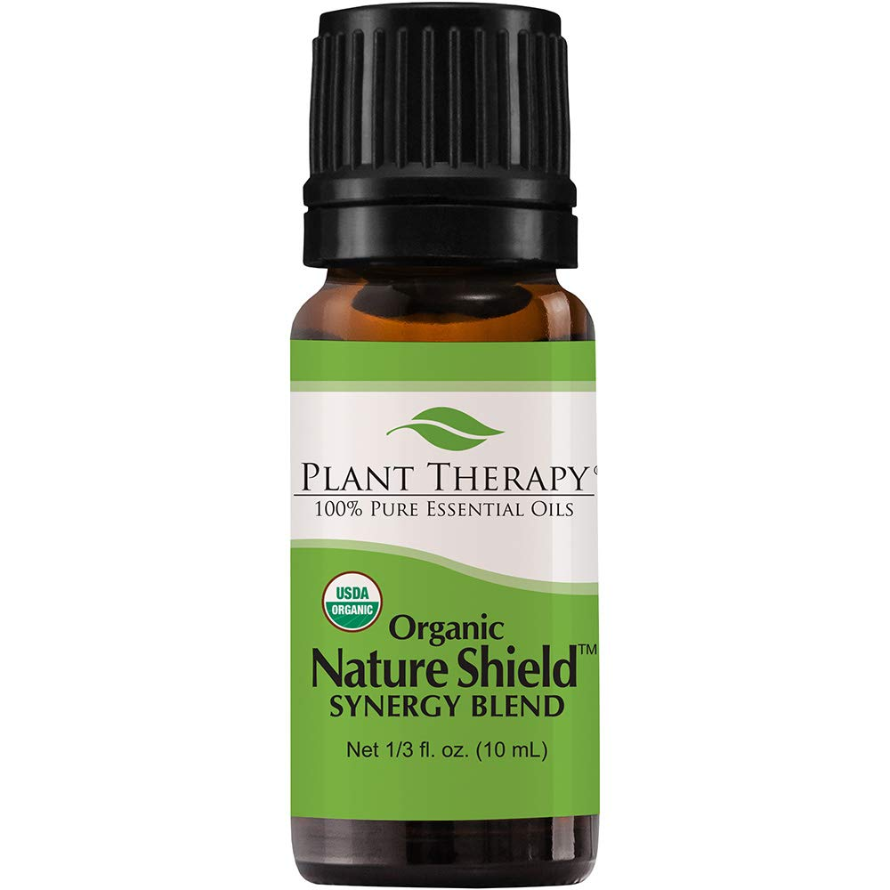 Plant Therapy Nature Shield Organic Essential Oil Synergy 10 mL (1/3 oz) - Natural Insect Repellent Blend 100% Pure, Undiluted, Natural Aromatherapy, Therapeutic Grade