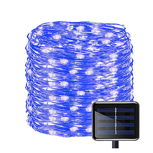 Aluvee Solar Powered String Lights,50ft/150LED Outdoor Garden Decoration Copper Wire Christmas String Light Wedding Party Tree Xmas Decoration Fairy String Light Tree Xmas (Blue)