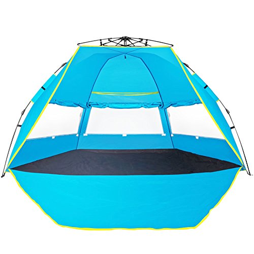 Automatic Instant Beach Tent YAAO Family Beach Sun shelter Instant Outdoor Cabana Blue