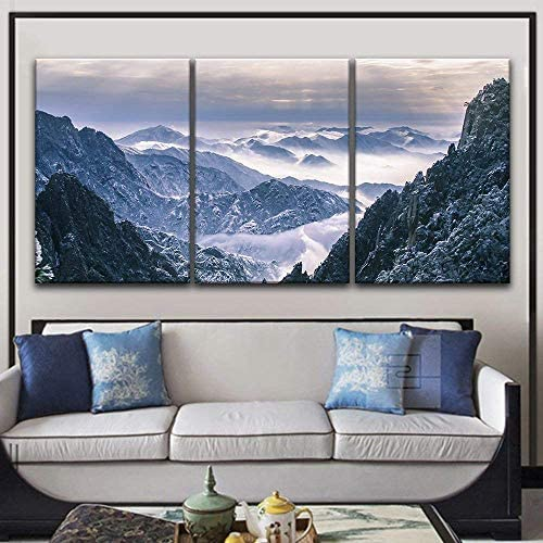 3 Panel Landscape of Snow Covered Mountains x 3 Panels