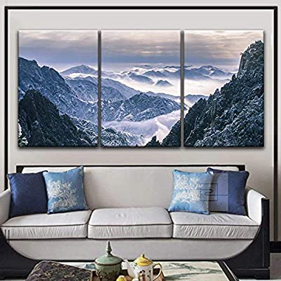 3 Panel Canvas Wall Art - Landscape of Snow Covered Mountains - Giclee Print Gallery Wrap Modern Home Art Ready to Hang - 16