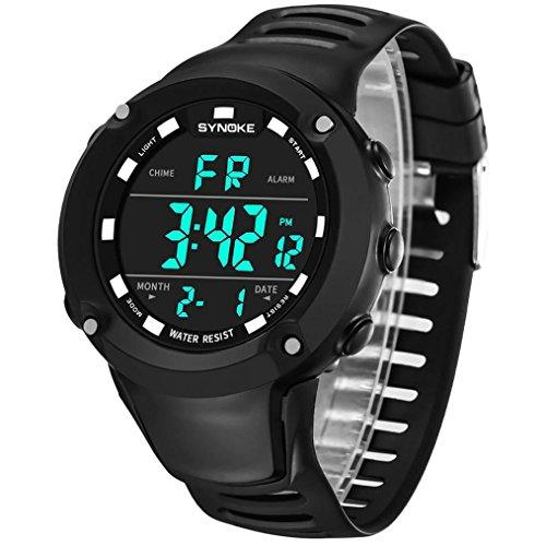 Men Digital Sport Watch, Voberry SYNOKE Multi-Function 50M Waterproof Sports Watch LED Digital Double Action Watch (Black)