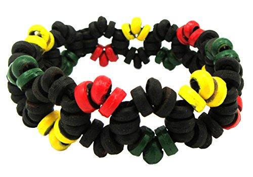 Rasta Beaded Bracelet - Wooden Bracelet - Coco Rasta Reggae Beads - Jamaican Bracelet (Black Wood Rasta)