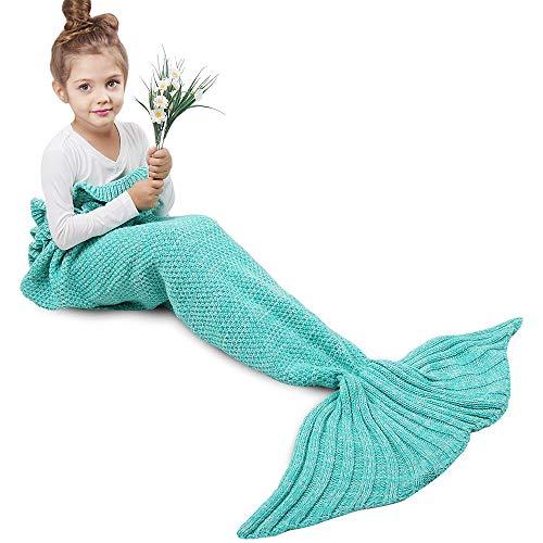 AmyHomie Mermaid Tail Blanket, Mermaid Blanket Adult Mermaid Tail Blanket, Crochet Kids Mermaid Tail Blanket for Girls