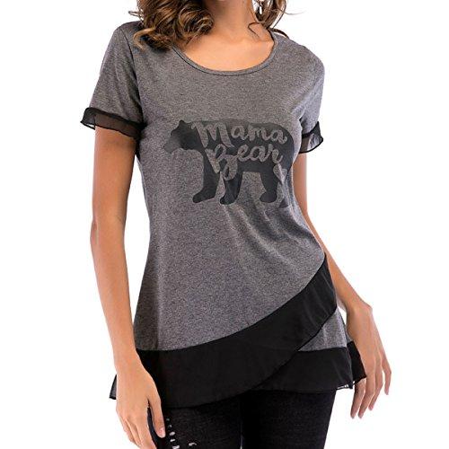 Shirt Bear Mama Courtes Tunique Casual Cross Womens Lettre Front Imprim Gray Manches xzqEwa5w