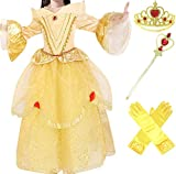 Princess Belle Deluxe Yellow Party Dress Costume (7-8)