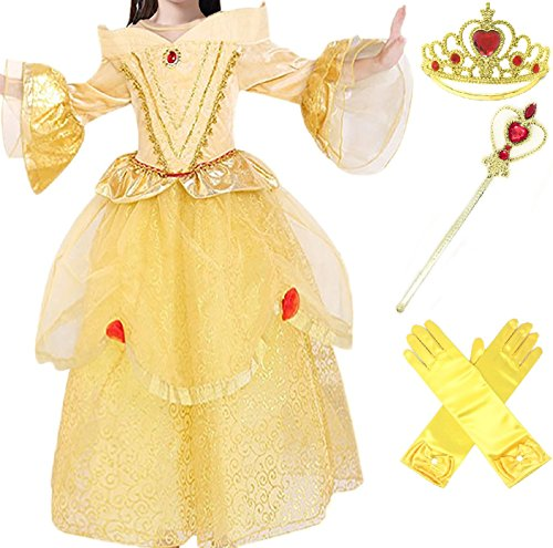 [Romy's Collection Princess Belle Yellow Party Dress Costume, 4-5] (Belle Princess Dress)