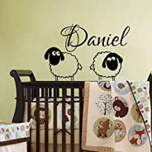 Personalized Name Wall Decals Decal Vinyl Sticker Sheep Boy Baby Nursery Bedroom Room Home Living Decor Window Art Murals MN568