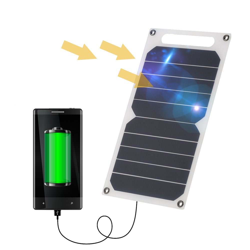Lixada 10W Solar Panel Charger 5V USB Ports for Cell Phone High Effiency Outdoor Activities Lighting Use Portable Ultra Thin Monocrystalline Silicon by Lixada