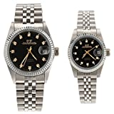 Gift w/ Box Luxury Pair of Couples Lovers Women Men Diamond Stainless Steel Automatic Self Wind Date Watch Black Sliver