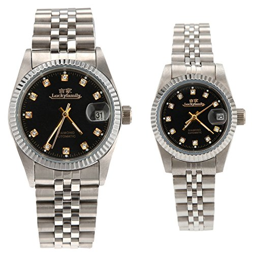 Gift w/ Box Luxury Pair of Couples Lovers Women Men Diamond Stainless Steel Automatic Self Wind Date Watch Black Sliver by jijia