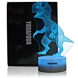 YODAFOUR Dinosaur 3D LED Illusion Night Light Lamp for Boys Children Teens, Birthday Easter Anniversary Party Gift, Table Desk Night Light for Nursery Room Dinosaur Lovers Bedroom Theme Decoration by